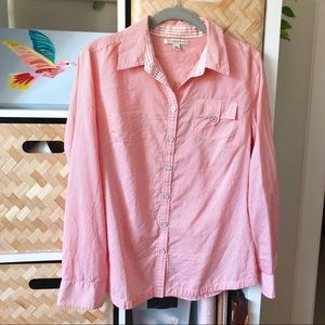 Silk / Cotton Blend Coral Button Down